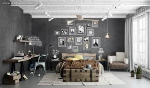 masculine industrial bedrooms interior design for men with white