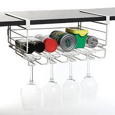 modern white metal under shelf hanging kitchen storage basket