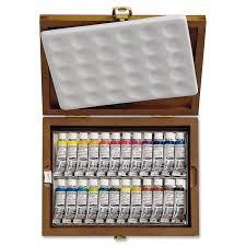 schmincke 74224097 aquarell 24 color tubes wooden box set 0 17 fl