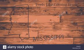 Mississippi State Map Mississippi State Map Brand On Wooden Boards With Map Outline And