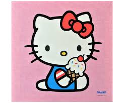 Tirelire Hello Kitty by Tableau Toile Hello Kitty Mange Un Glace Dessert 25x25cm 2997
