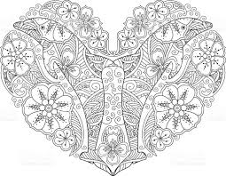 coloring page with dolphin in heart shape isolated on white stock