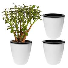 evelots 3 pack of self watering planters small or large white flowe