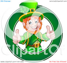 clipart of a cartoon friendly st patricks day leprechaun giving