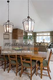 Lantern Light Fixtures For Dining Room Area Foreground Dining Table Two Lantern Light Fixtures