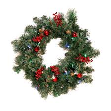 cordless 26 led castle hill artificial pre lit wreath
