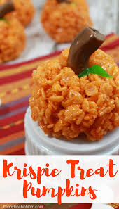 rice krispie pumpkin treats fun snack idea for halloween
