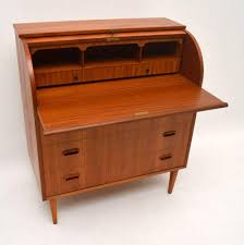 teak roll top desk danish retro teak roll top bureau vintage 1960s at 1stdibs