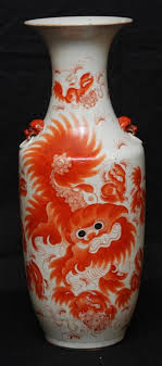 orange foo dogs qing painted foo dogs vase