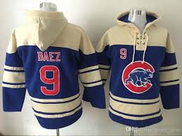 2017 chicago cubs 9 javier baez blue hoodie cheap champion