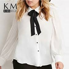 plus size white blouses kissmilk plus size fashion bow button big size