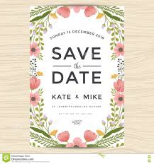 Invitation Cards Template Save The Date Wedding Invitation Card Template With Hand Drawn