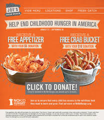 coupons for joe s crab shack joe s crab shack get free crab and end childhood hunger the
