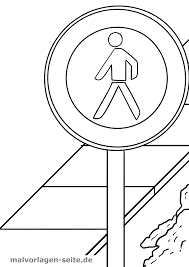 Panneau de signalisation piéton interdit Coloriage  Coloriage