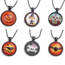 halloween jewelry halloween necklaces skull pumpkin necklace orange black ball chain