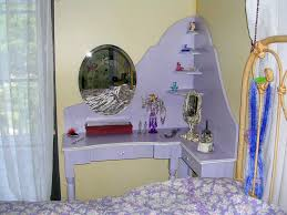 Small Corner Bedroom Vanity With Drawers Furniture Corner Purple Wooden Bedroom Vanities With Oval Mirrors
