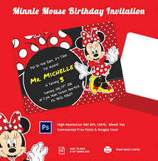 minnie mouse birthday invitation template u2013 12 free psd ai