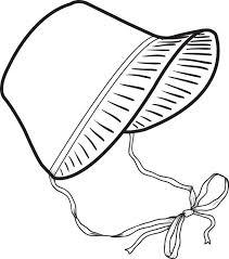 free printable pilgrim bonnet coloring page for