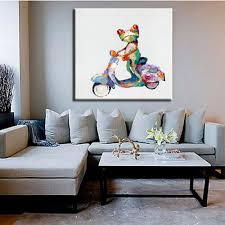 ride a bike frog picture handmade modern animals painting home