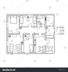 modern floor plan black white floor plan modern apartment stock vector 343405217