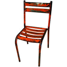 Iron Bistro Chairs Pair Of French Industrial Orange And Red Metal Bistro Chairs At