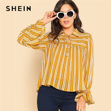 blouses with bows at neck shein bow neck pleated striped top flare sleeve