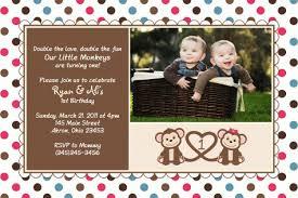 twin monkey photo birthday invitation photo birthday invitations