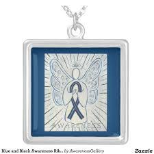 Custom Silver Pendants Blue And Black Awareness Ribbon Angel Custom Silver Pendant