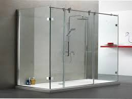 tub with glass shower door frameless sliding glass shower door bottom guide frameless