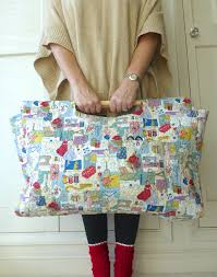 sewing bag knitting bag craft bag tote with wooden handles