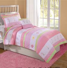 teen girls twin bedding pink u0026 white tara stripe flower girls bedding twin quilt u0026 1 sham