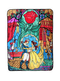 disney and the beast stained glass throw blanket topic