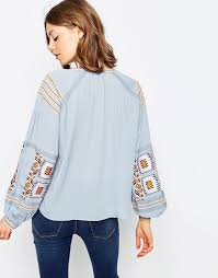 peasant blouse asos asos embroidered peasant blouse in chambray