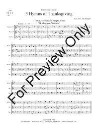 three hymns of thanksgiving brass trio j w pepper sheet