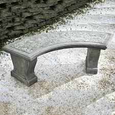 outdoor concrete bench curved leaf stone garden bench outdoor