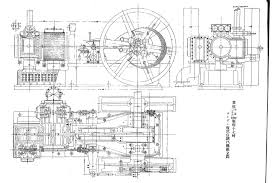assembly drawing of tandem self regulating steam engine exhibited