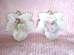 shabby chic vintage home decor vintage set 2 shabby chic maple leaf dishes pink roses ceramic