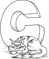 c is for cat coloring page eson me