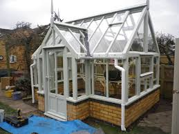 Shed Greenhouse Plans Wooden Greenhouse On Dwarf Brick Wall Youtube