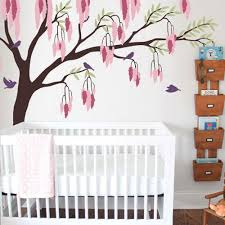 Boy Nursery Wall Decal Weeping Willow Tree With Birds Baby Boy Nursery Wall Decal