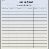 Volunteer Sign Up Sheet Template Free Sign Up Sheet Template Word