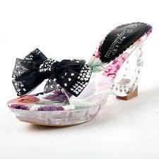 Wedding Shoes Mid Heel Mid Heel Open Toes Bow Rhinestone Sandals Black Wedding Shoes Mid