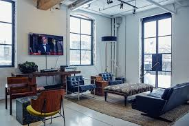 Masculine Home Office by Inside East Room U0027s Hip Coworking Space In Toronto Officelovin U0027