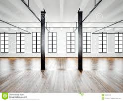 photo of open space interior in modern loft empty white walls