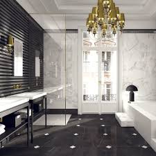 Gold Bathroom Ideas Marble Black White Stripe Gold Bathroom Design Interior