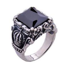 silver ring for men crown black agate sterling silver rings men lower price