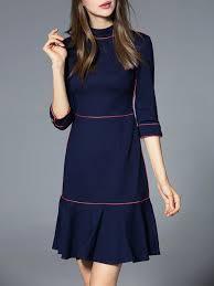 navy blue flounce elegant cotton blend ruffled mini dress