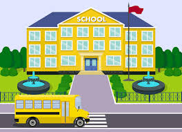 bureau de dessin en b iment bâtiment scolaire et autobus dessin de vecteur illustration de