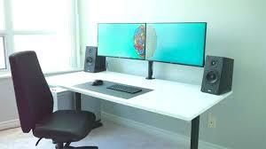 Computer Desk For Two Monitors Dual Monitor Desk Desk For Dual Monitors Corner Computer Desk Dual