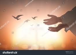 devotion thanksgiving concept silhouette human open stock photo